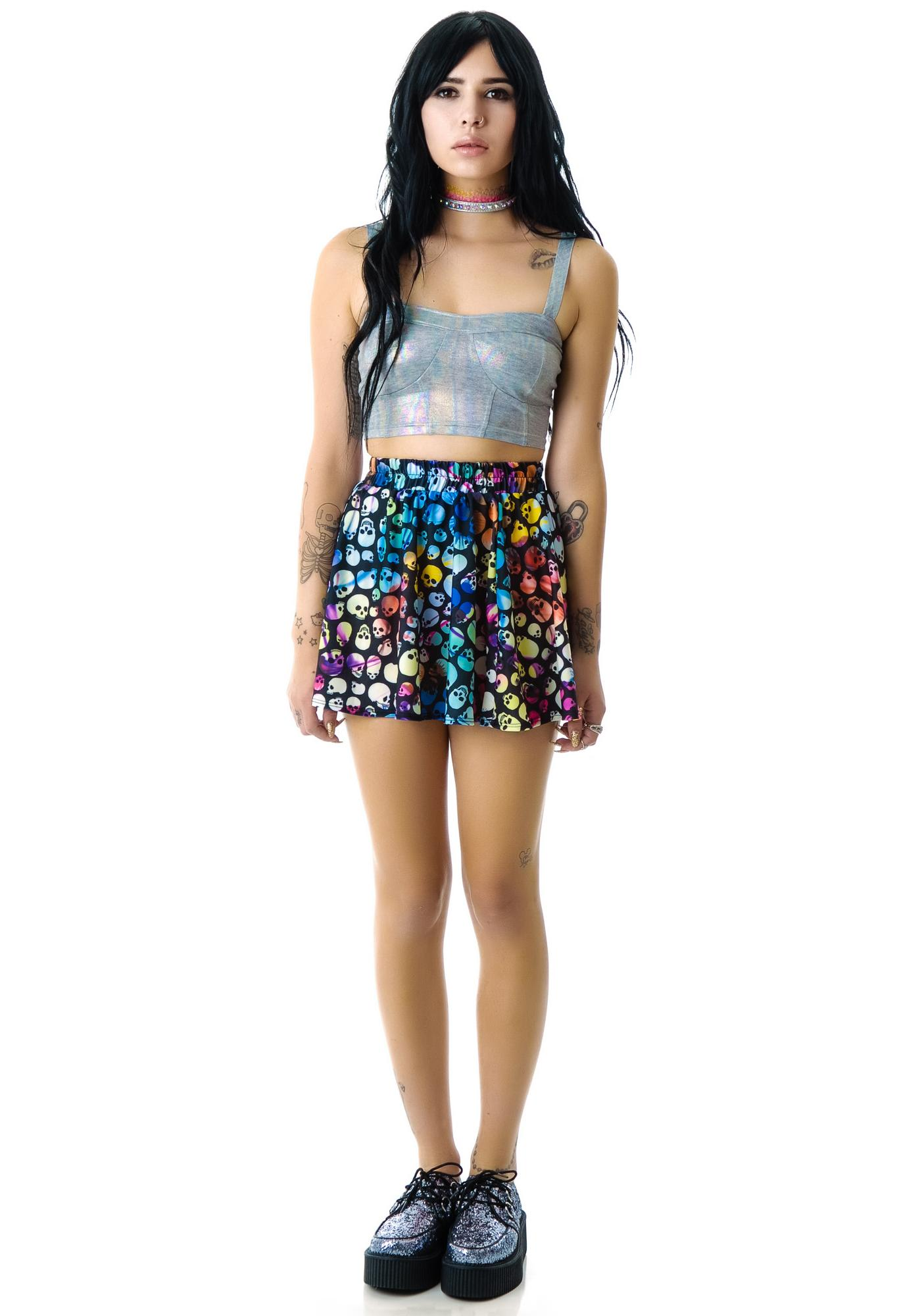 Zara Terez Colored Skulls Skater Skirt