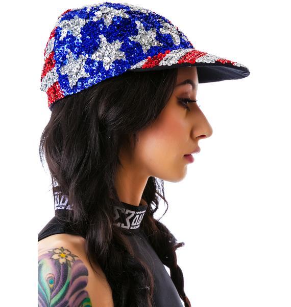 American Flag X Sequin Cap