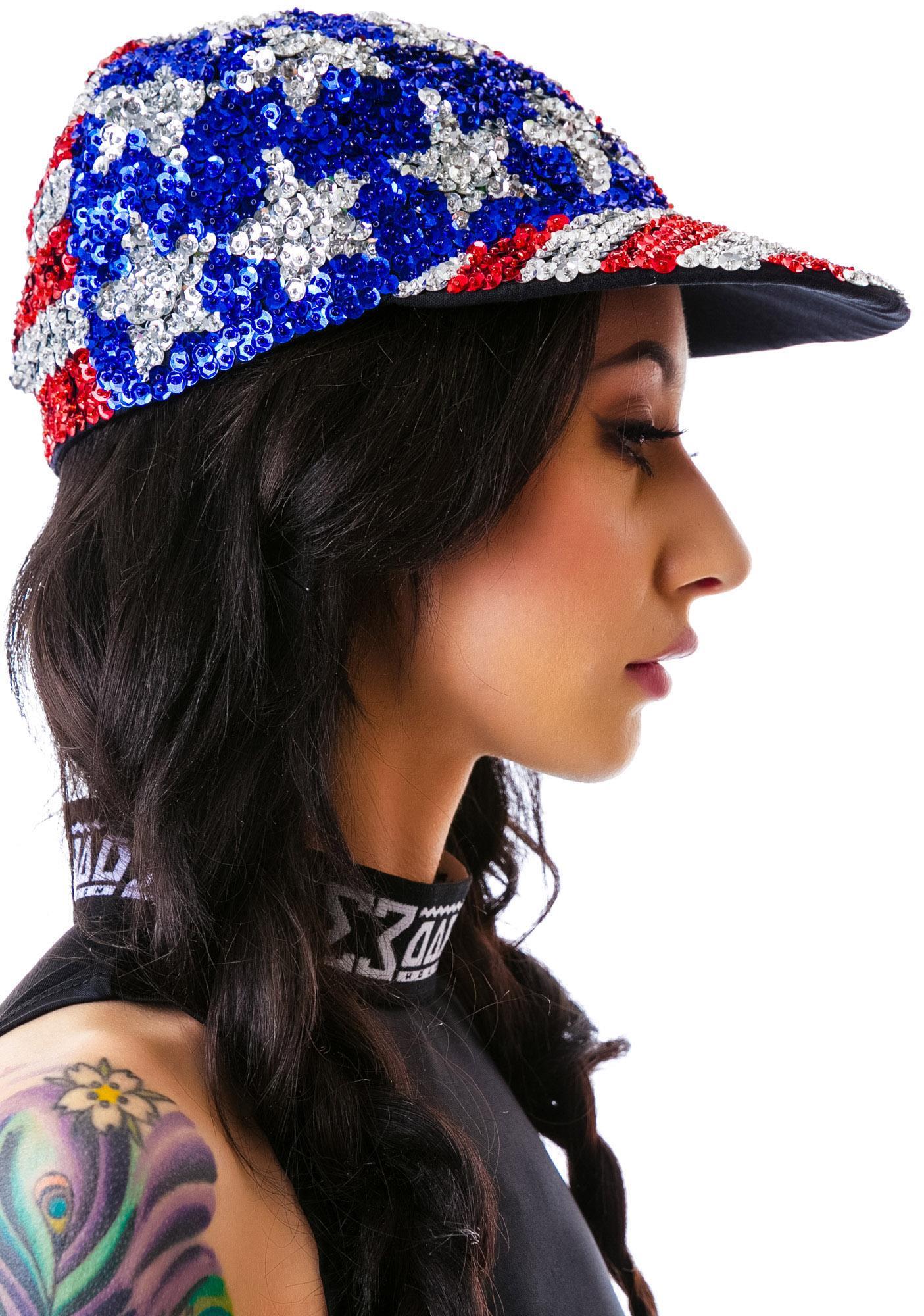 ... American Flag X Sequin Cap ... 407dc231018