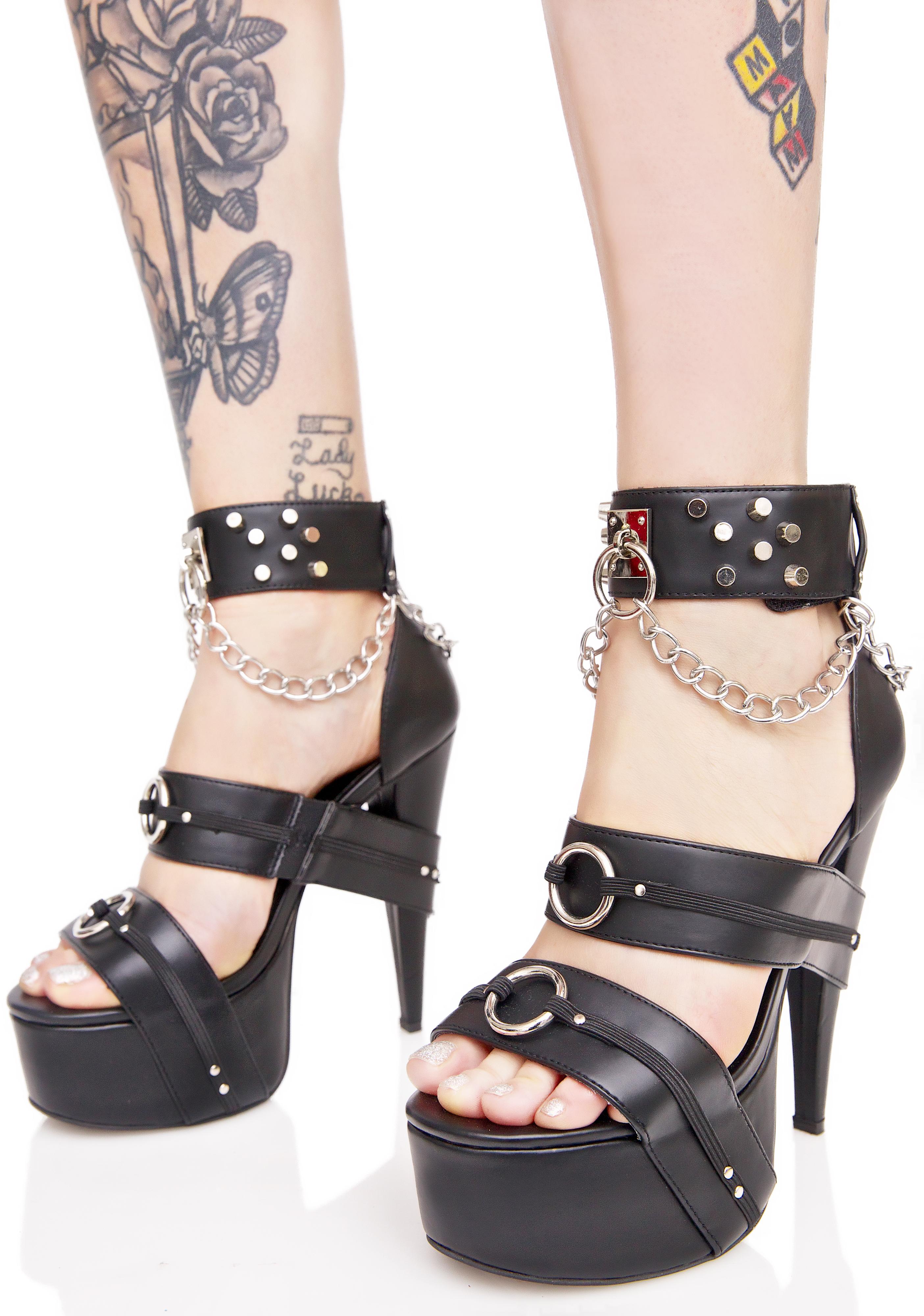 Current Mood Bondage Stiletto O-Ring Heels