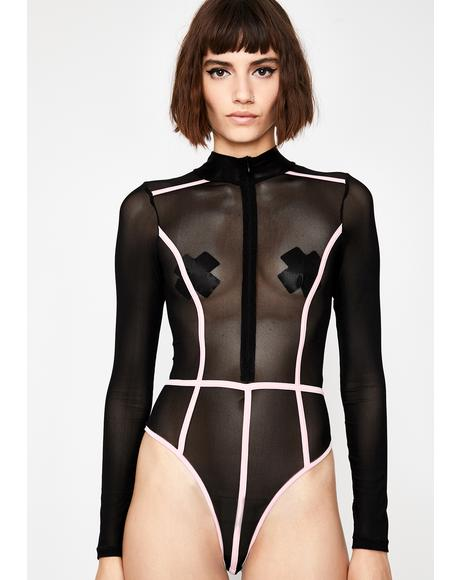 Dark Strobe Racer Mesh Bodysuit