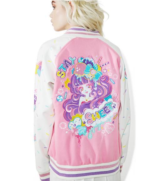 X Miss Kika Stay Sweet Varsity Jacket
