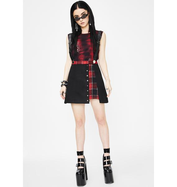 Punk Rave Plaid Joint Over Skirt