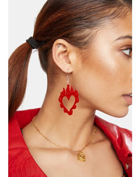 Burning Love Heart Drop Earrings