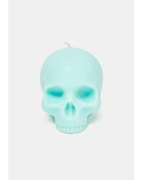 Mint Half Jaw Skull Candle