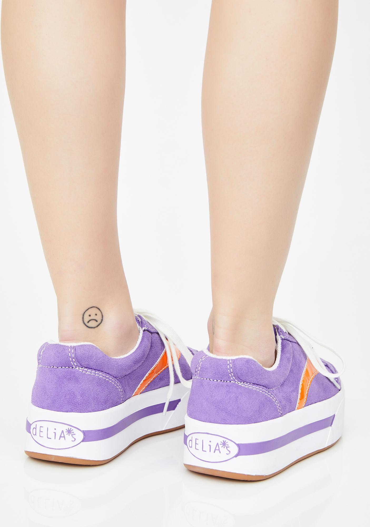 dELiA*s by Dolls Kill Purp Whats My Age Again Skater Sneakers