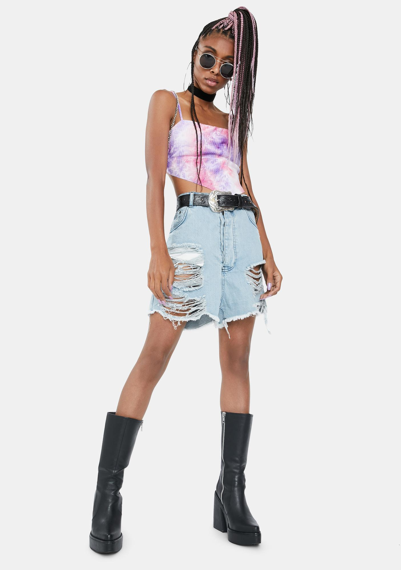 Lilac Just Chill Out Tie Dye Crop Top