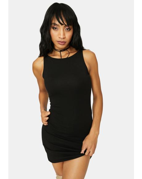 Check Pls High Neck Tank Bodycon Mini Dress