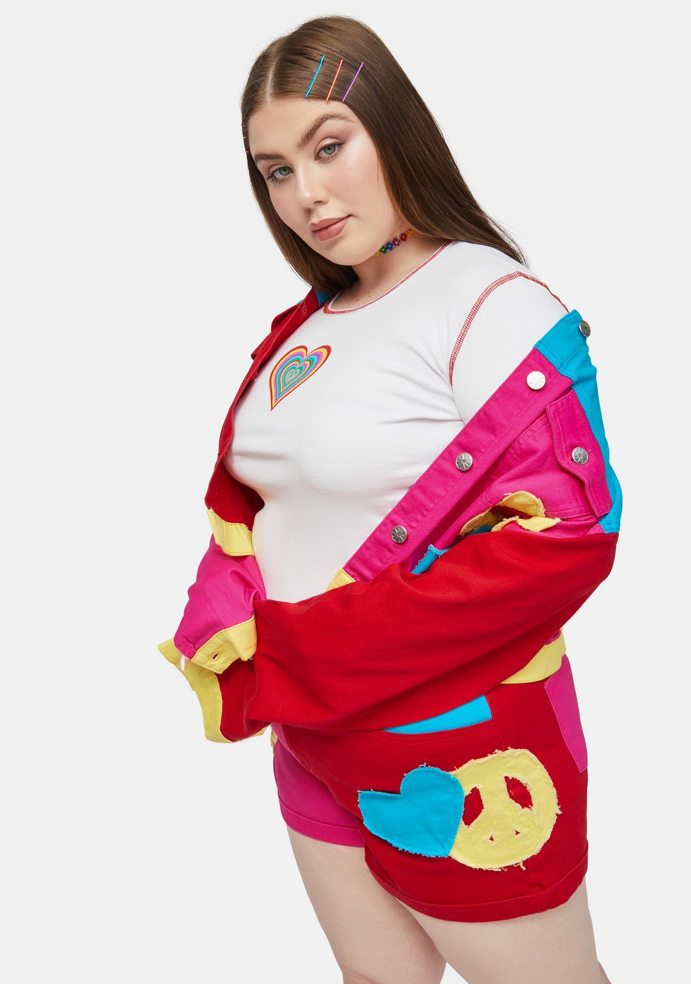 dELiA*s by Dolls Kill Gotta Take It 2 Heart Contrast Stitch Long Sleeve Top