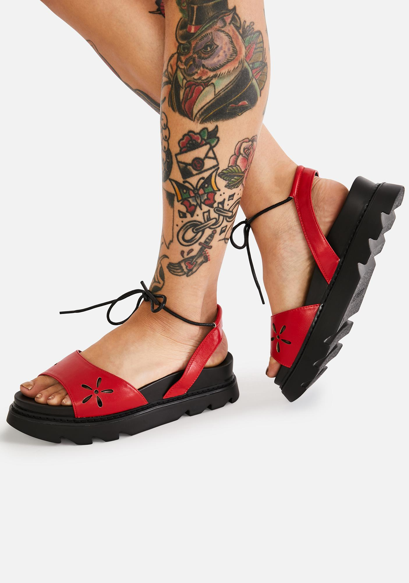 Lamoda Crimson Nights In Springtime Platform Sandals