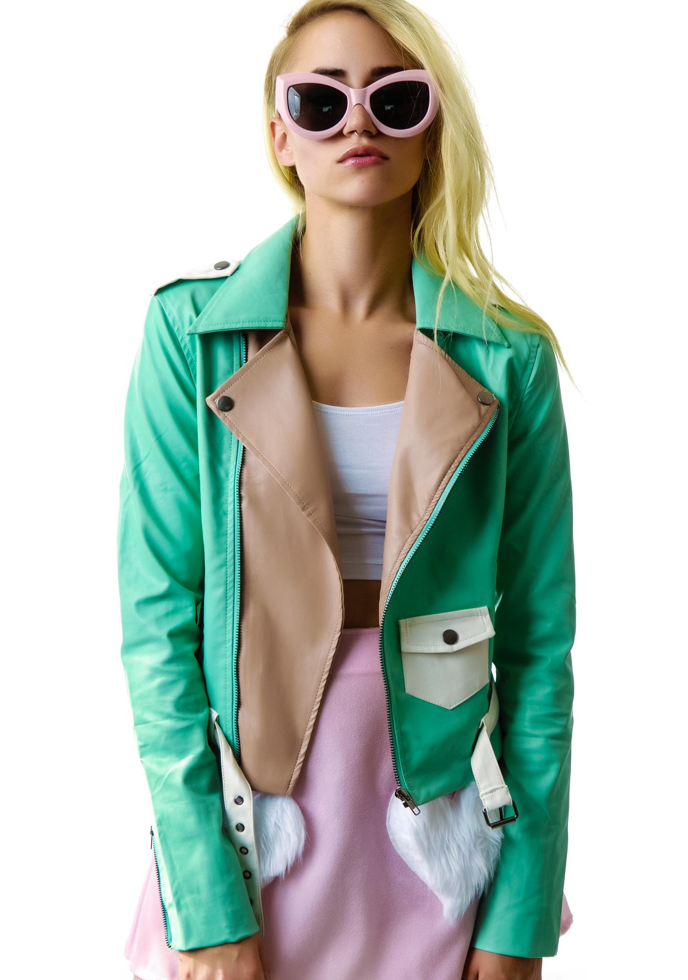 Fresh Mint Faux Leather Moto Jacket