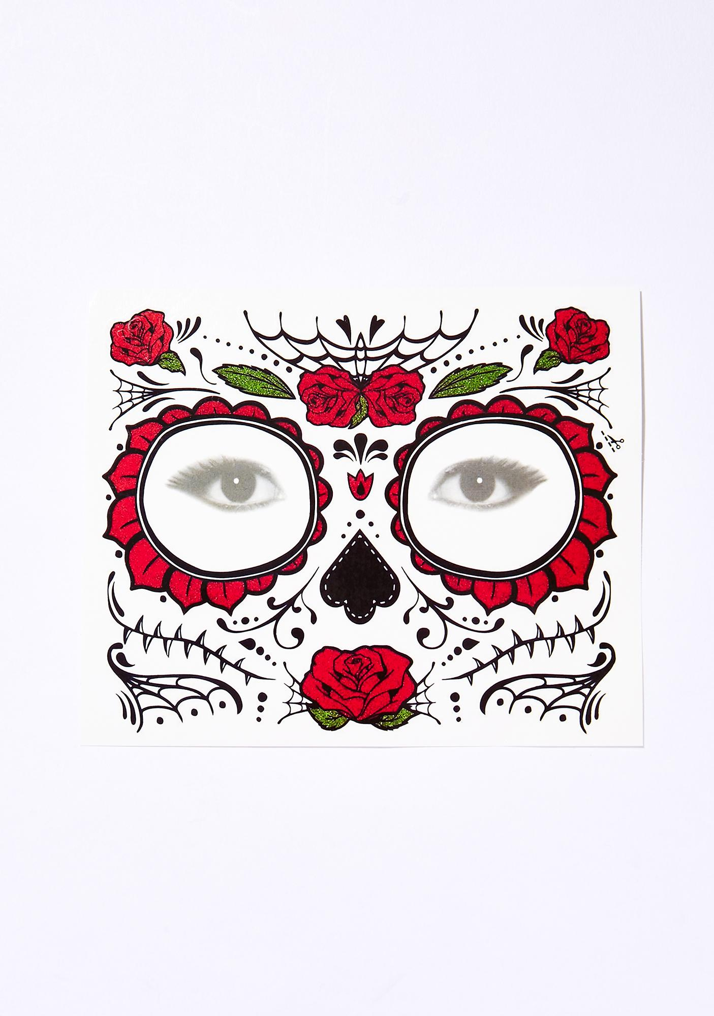 Red Rose Sugar Skull Temporary Face Tattoo Dolls Kill