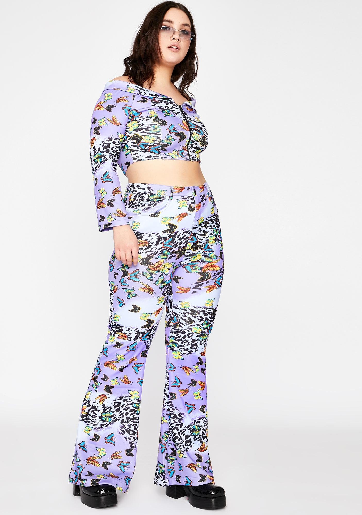Lilac Her Wild Fusion Flared Pants