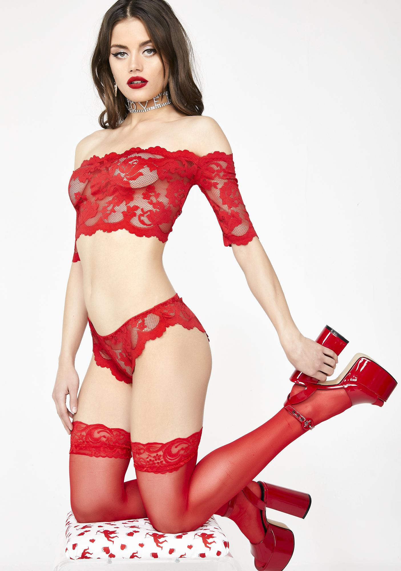 e82fcfb8fde Red Lace Sheer Lingerie Set