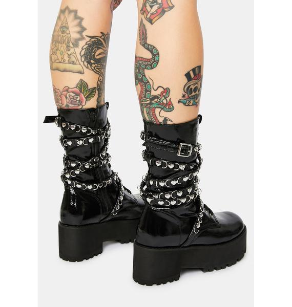 Sugar Thrillz Heart Stealer Strapped Combat Boots