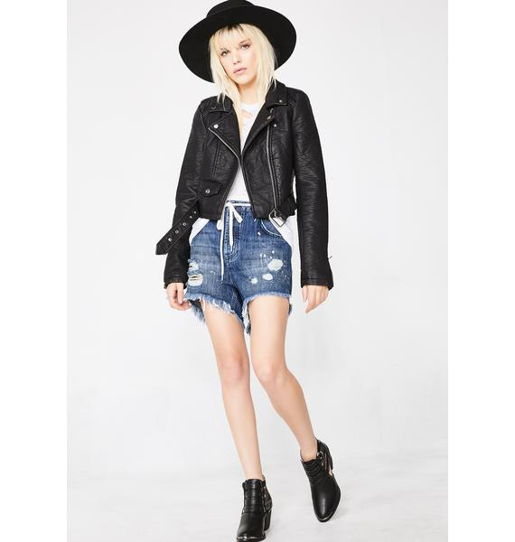 One Teaspoon Pop Cult Outlaws Mid Length Denim Shorts