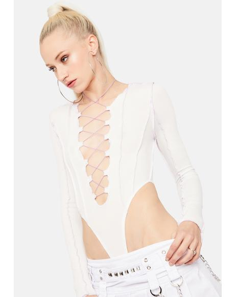 Perfecting Skills Plunge Lace Up Bodysuit