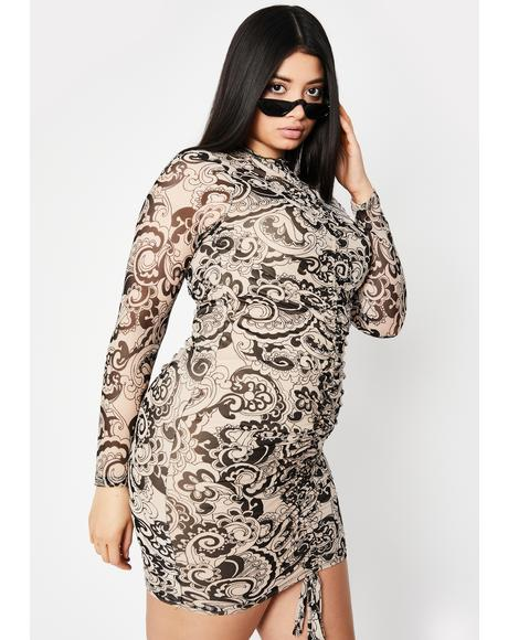 Taupe She's Feelin' Groovy Mini Dress