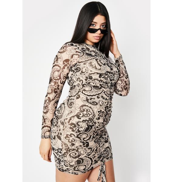 Taupe She's Feelin' Groovy Mini Dress