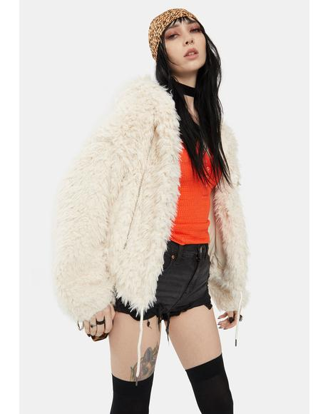 Oatmeal Faux Fur Jacket