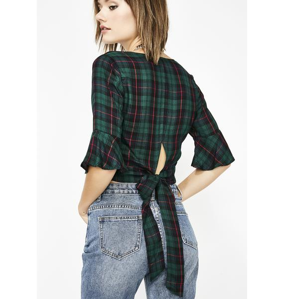Royal Heart Of Darkness Plaid Blouse