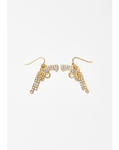 Shot Me Down Rhinestone Earrings