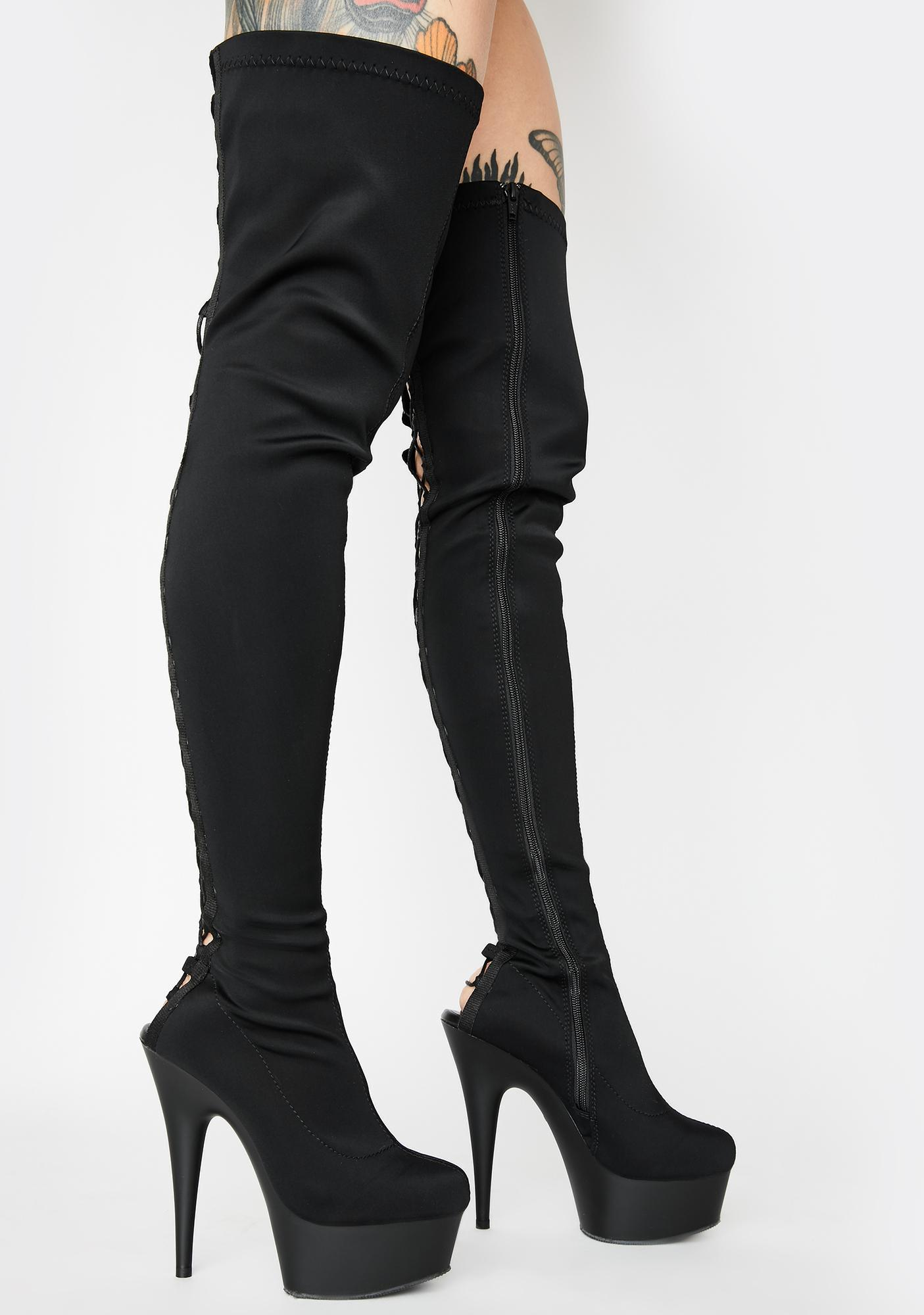 Pleaser Hold Up Thigh High Boots