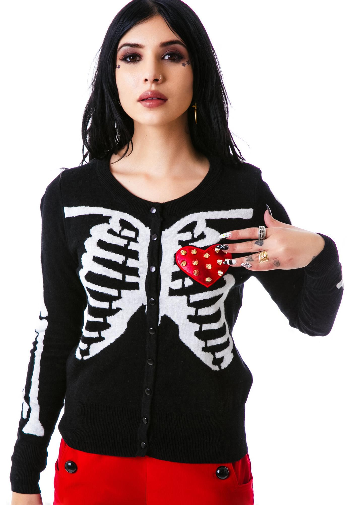 Too Fast Spike Ribcage Knit In Cardigan