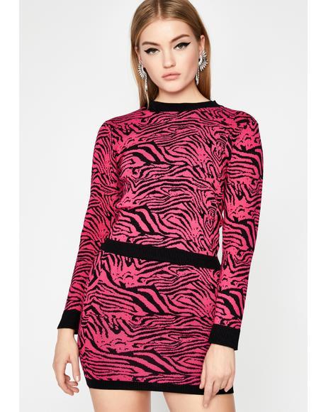 Hott Wild Vertigo Zebra Skirt Set
