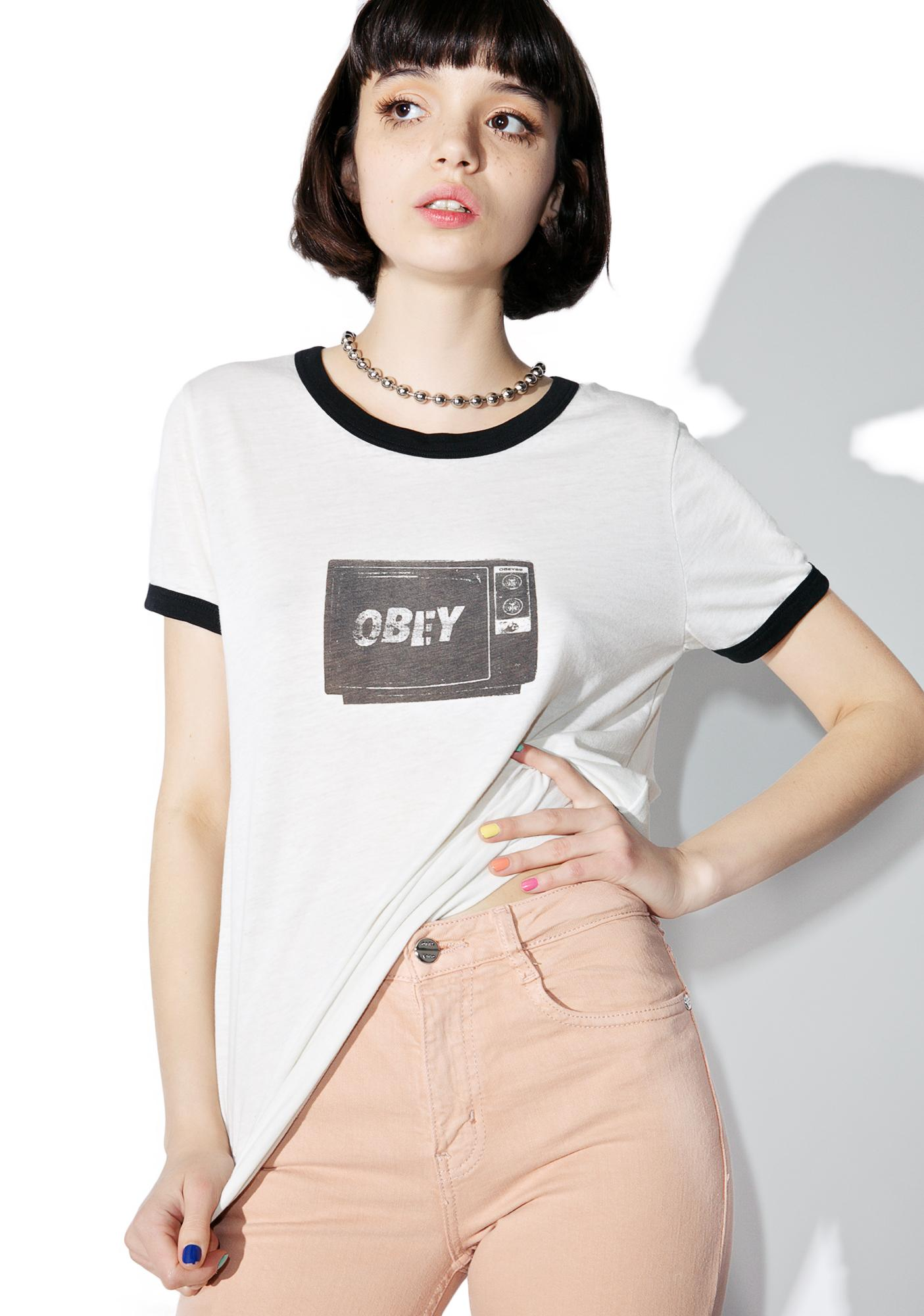 Obey What To Think Ringer Tee
