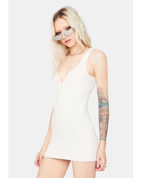 Cream Say Goodbye Ribbed Mini Dress