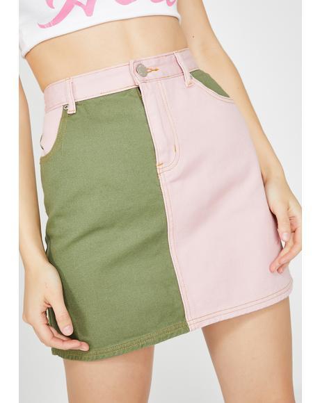 Army Chic Denim Skirt