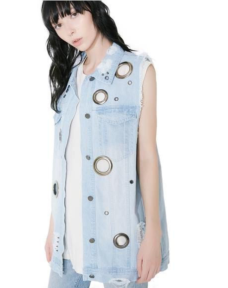 Best Shot Grommet Denim Vest