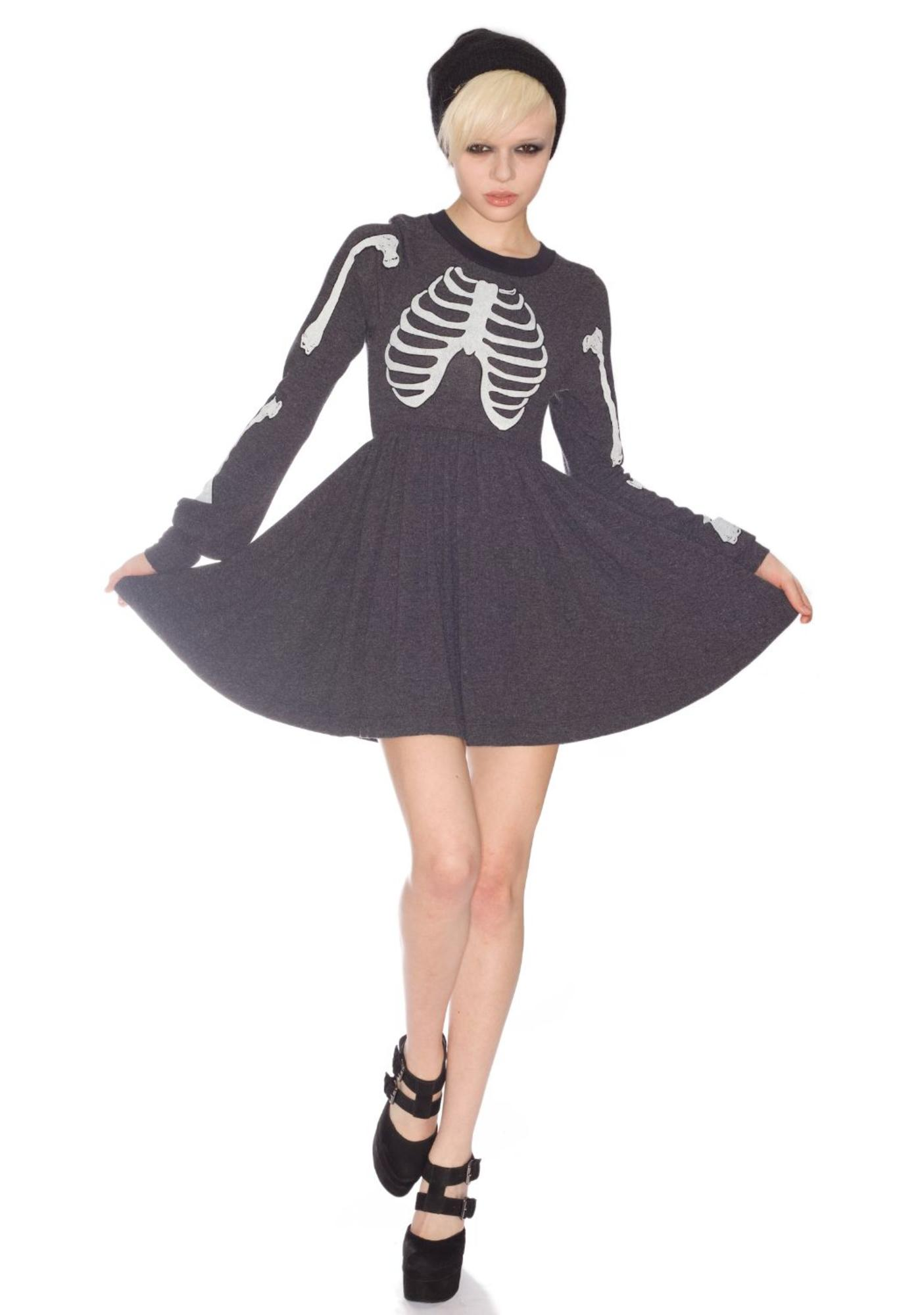 aa4c76c3f62 Wildfox Couture Skeleton London Baby Doll Dress
