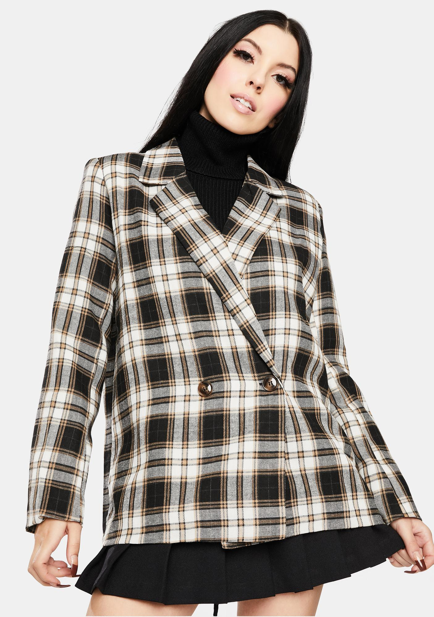 Daisy Street Vintage Check Relaxed Blazer