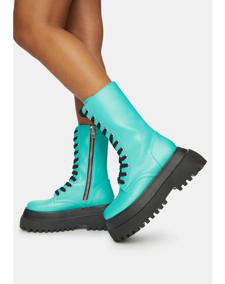 Distorted Reality Platform Combat Boots