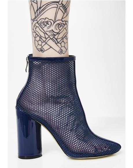 Under Patent Heel Mesh Ankle Boots