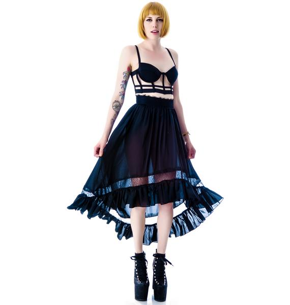 Lip Service Black Steam High Low Lace Skirt
