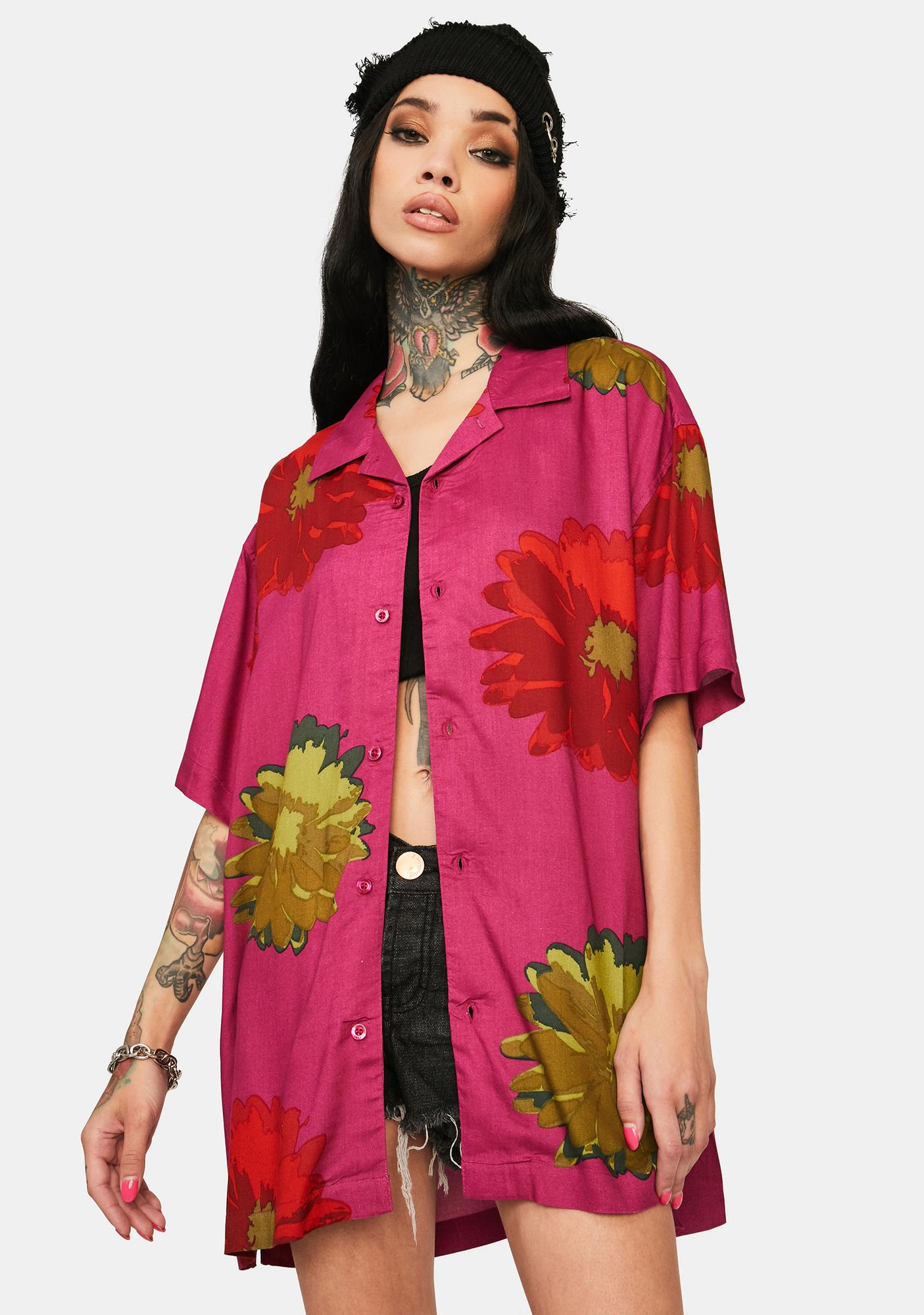 Obey Cassis Lou Floral Woven Button Up Shirt