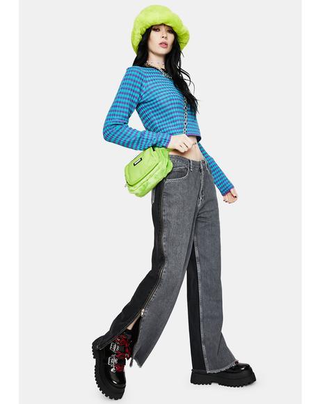 Charcoal Deuce Side Zip Dad Jeans