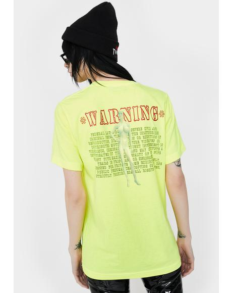 Neon Yellow Warning Graphic Tee