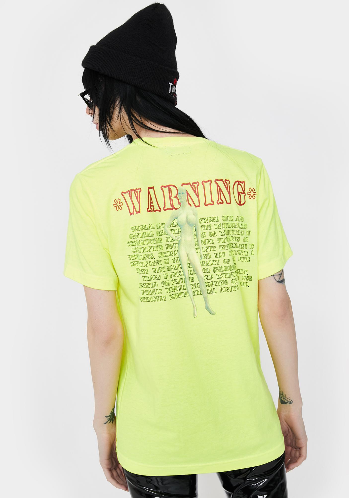 Funeral Neon Yellow Warning Graphic Tee