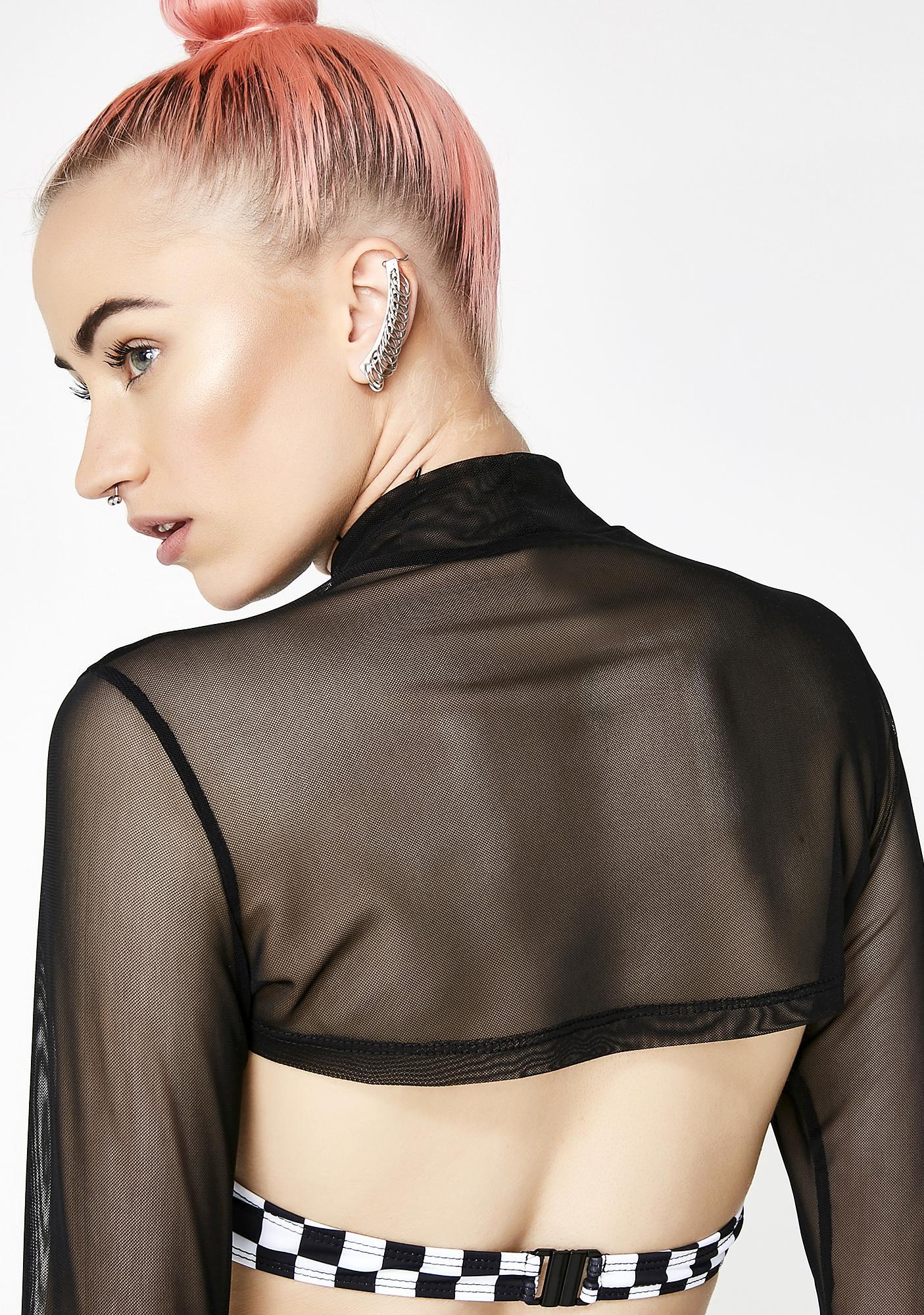 Jaded London Underwire Bikini Top With Mesh Overlay