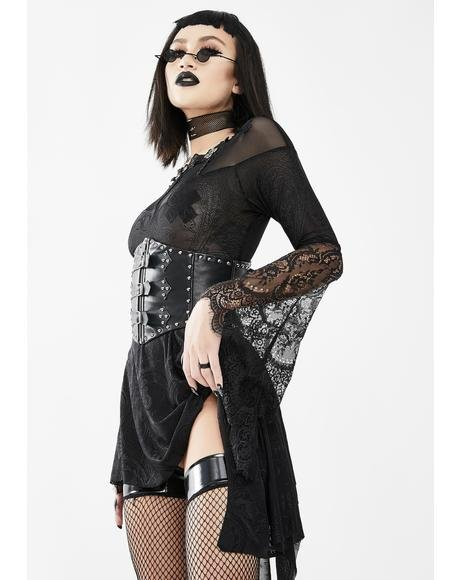 Sheer Black Dress With Lace Bell Sleeves