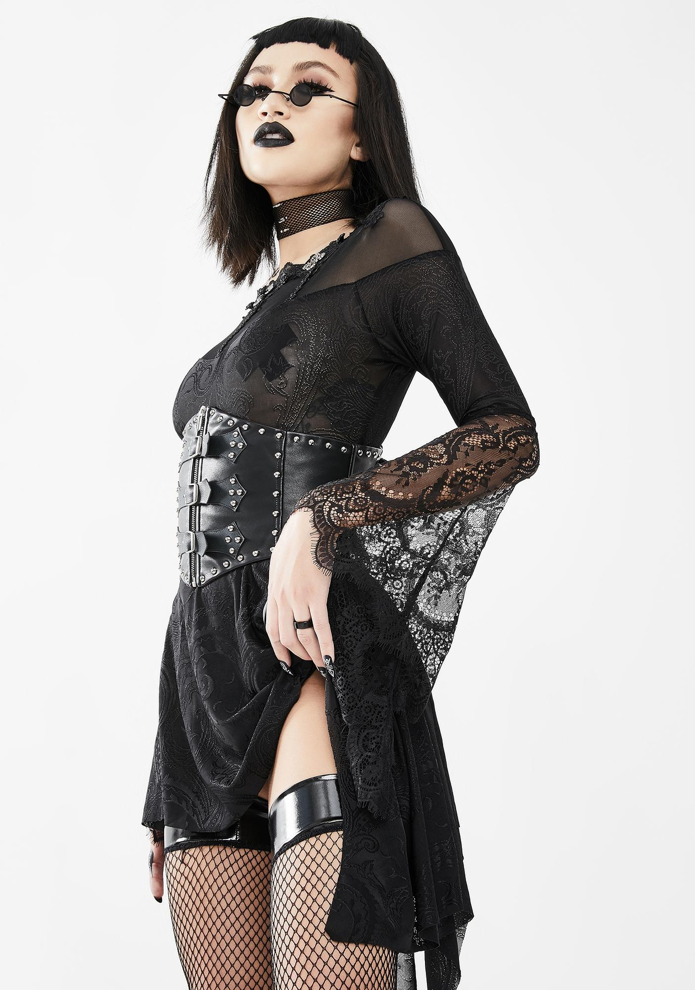 Eva Lady Sheer Black Dress With Lace Bell Sleeves