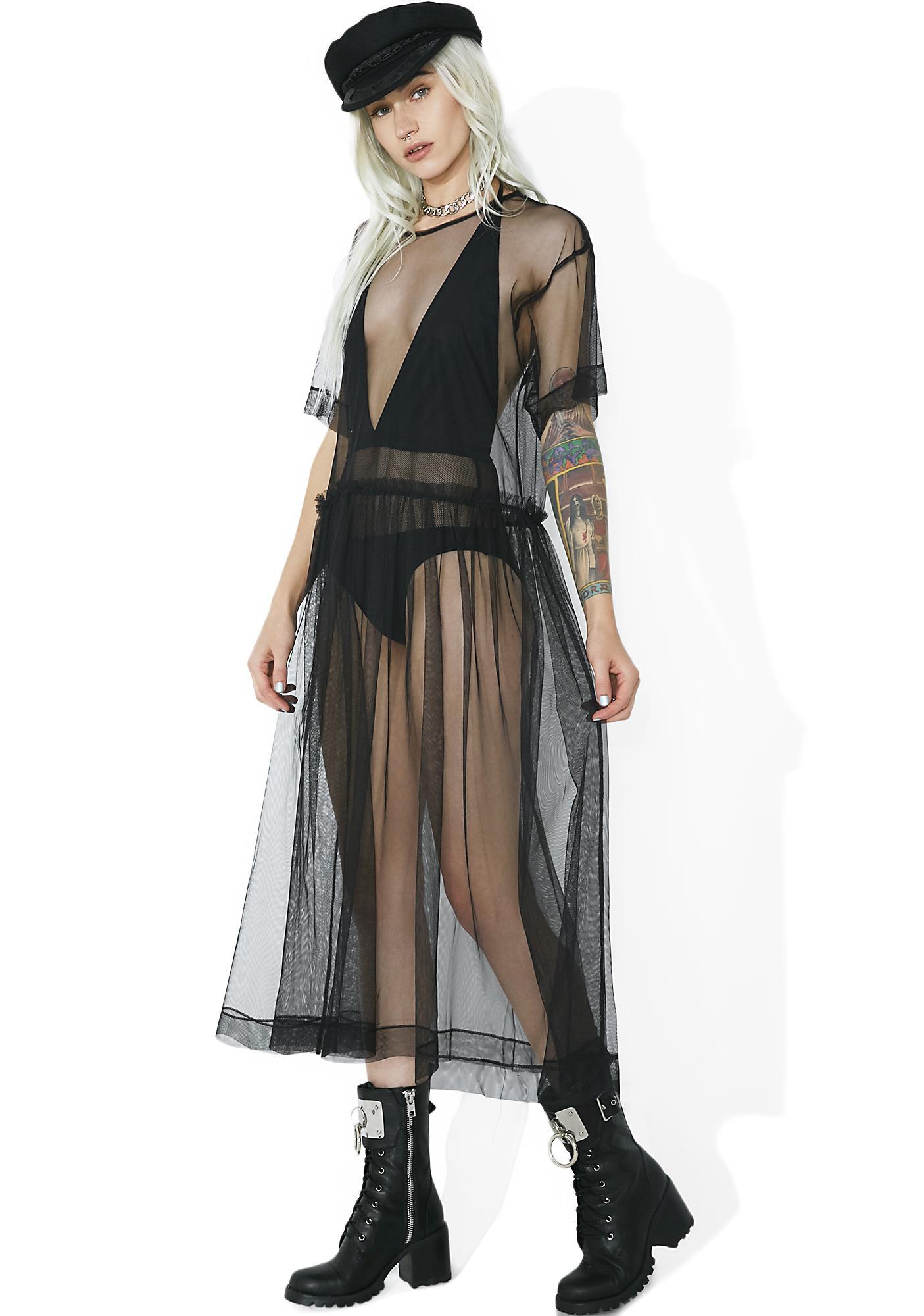 Last Dance Sheer Mesh Midi Dress