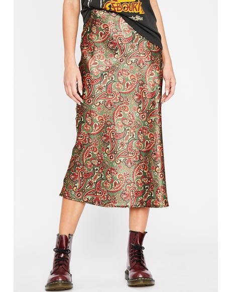 Olive Luxury Level Satin Skirt