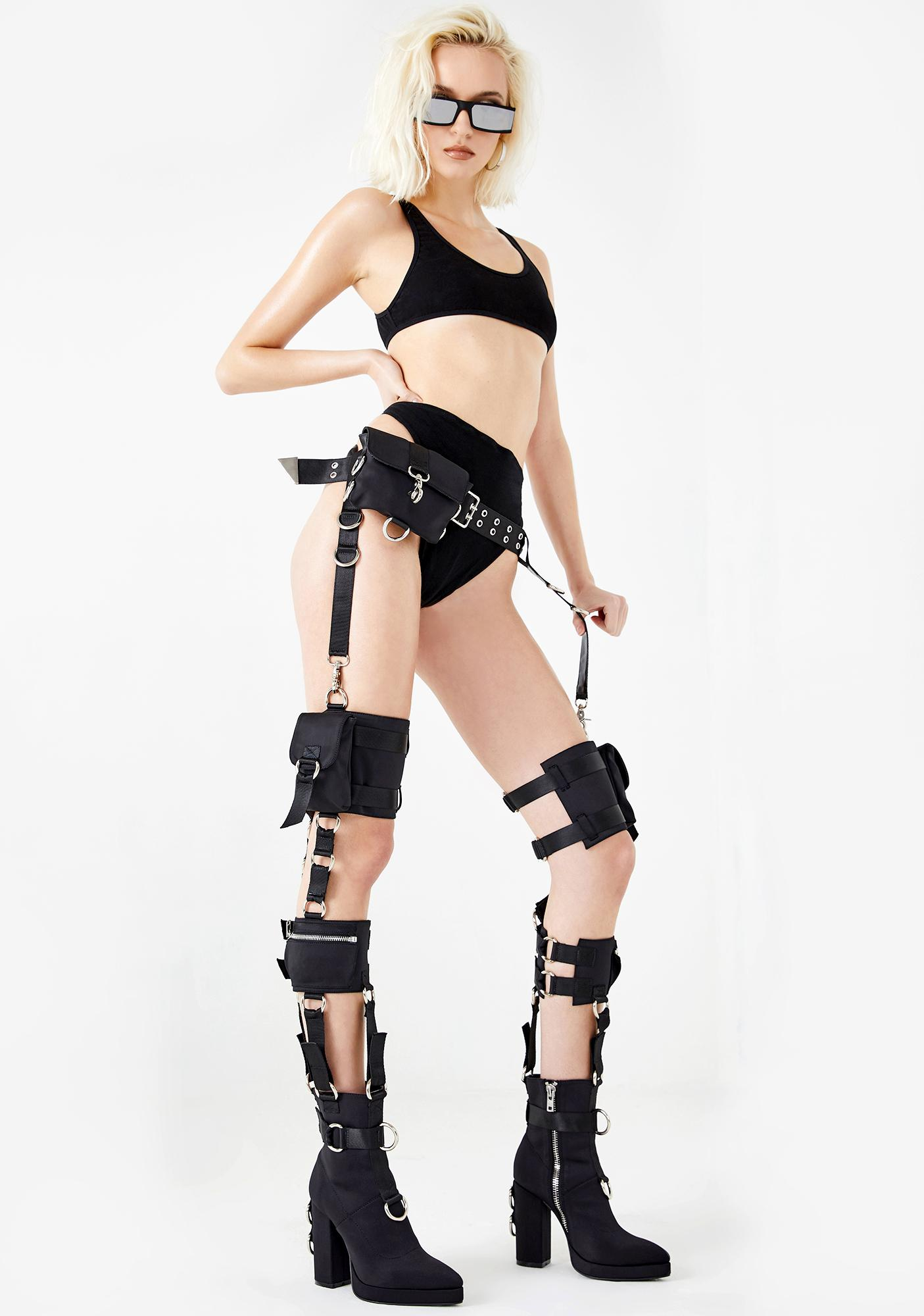 Poster Grl Rated R Harness Thigh Highs