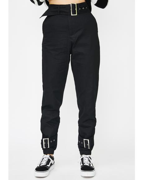 Square Buckle Slim Trousers