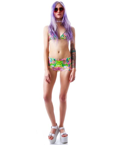 Psychedelic Paisley Retro Belted Short